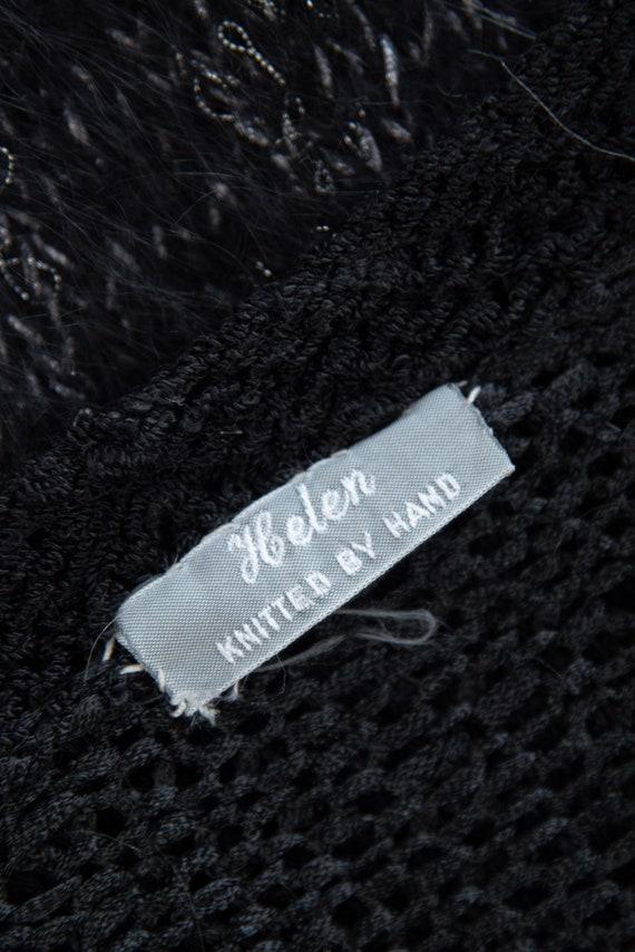 Angora Cardigan Sweater | Black Grey Abstract 80s… - image 10