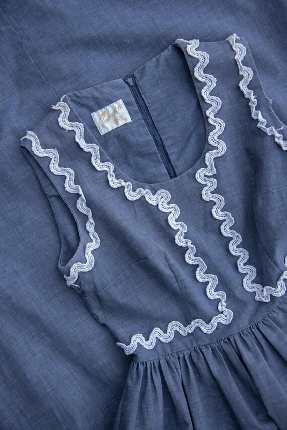 70's Denim Dress | Boho Chambray + Crochet Maxi D… - image 7