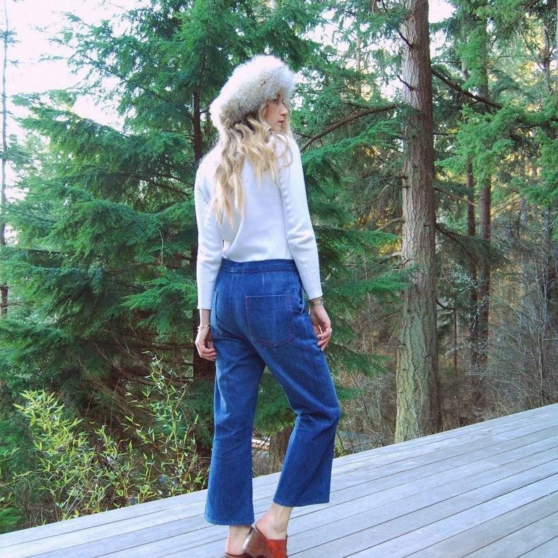 f408e405bd8f9 70s High Waisted Jeans Vintage Wide Leg Jeans 31 32 Waist