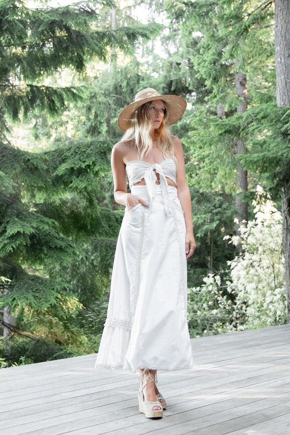 70s Gunne Sax Skirt | Gunnies White Cotton Crochet
