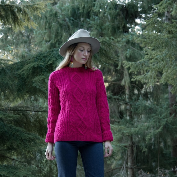 70's Pink Cable Knit Sweater, Hand Knit Fisherman