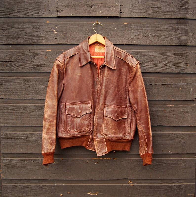 ec8000c5f Leather Bomber Jacket, 40s 50s Horsehide Jacket, Vintage Leather Jacket  Mens Med Lrg, Aviator Flight Jacket, East West Motorcycle Jacket