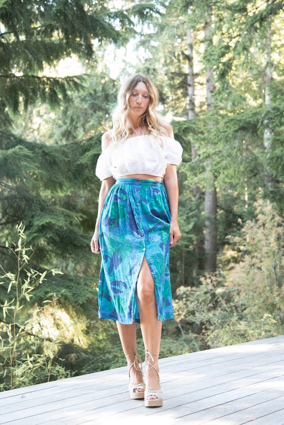 Vintage Boho Midi Skirt | Adini Indian Cotton Gauz
