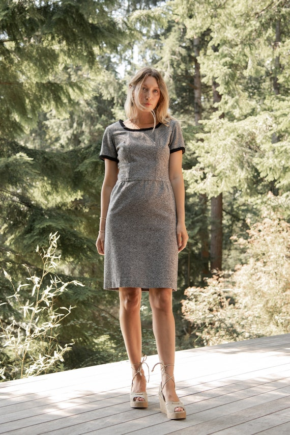 60s Wool Dress   Black and White Autumn Woven Twee