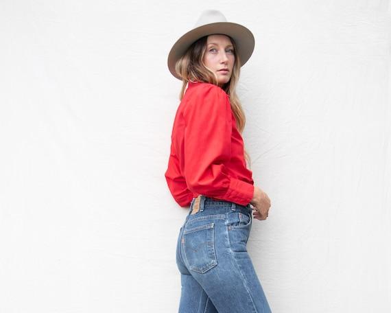 70s Vintage Blouse | Red Cotton Blouse | Princess