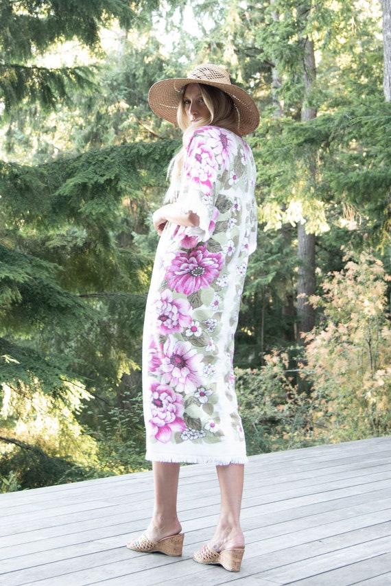 70s Terry Cloth Dress | Pink Zinnia Floral Towel … - image 4
