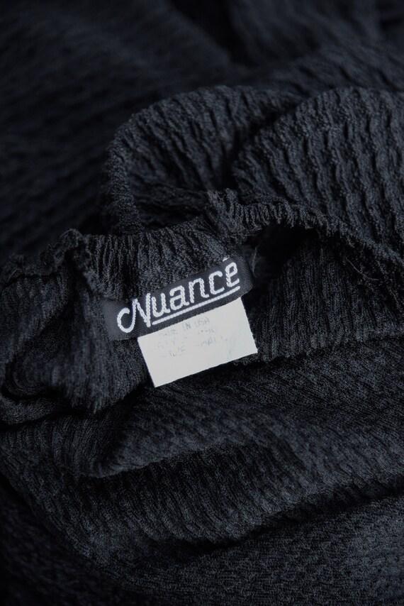 80s Holiday Dress   Black Ribbed Knit Bodycon Bac… - image 10