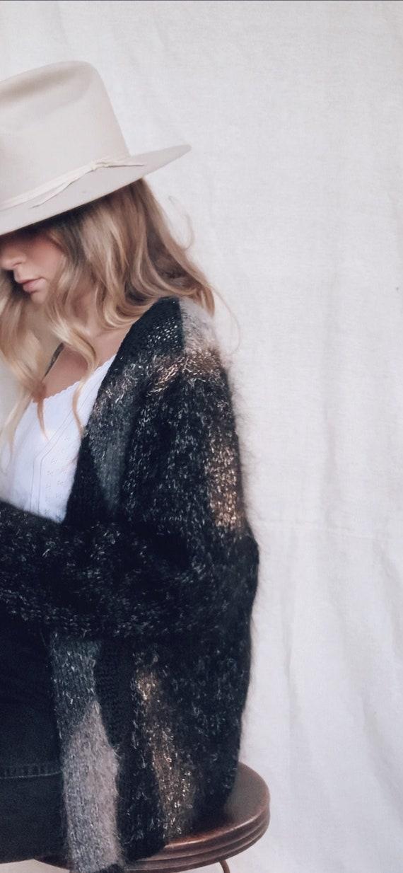 Angora Cardigan Sweater | Black Grey Abstract 80s… - image 7