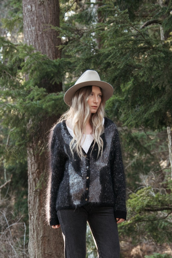 Angora Cardigan Sweater | Black Grey Abstract 80s… - image 5
