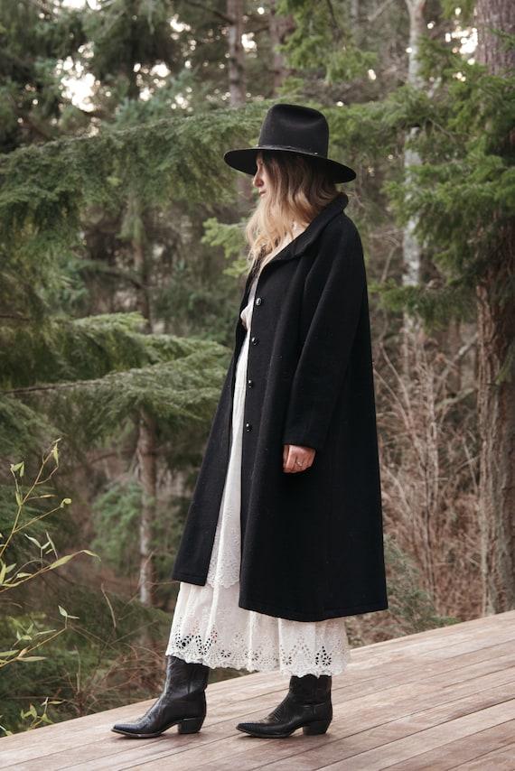 80's Long Wool Coat | Vintage Black Peacoat |  198