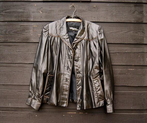 60e318ecc 80s Vintage Black Leather Jacket Women's MED Large WILSONS Leather Jacket  Pleated Metallic Black Motorcycle Jacket with Tan Trim