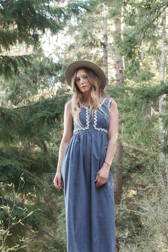 70's Denim Dress | Boho Chambray + Crochet Maxi D… - image 5