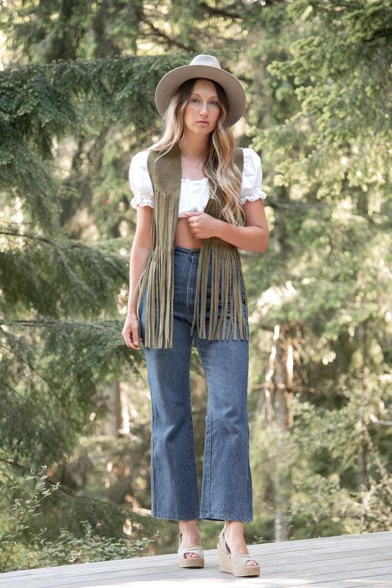 Vintage 70s Suede Fringe Vest |  Suede Leather Ve… - image 5