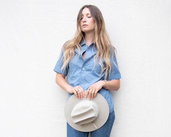 70's Vintage Shirt, Chambray Shirt, Baby Blue WRA… - image 6