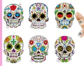 Sugar Skull Day of the Dead Nail Decals Stickers (Peel and Stick) SKU907