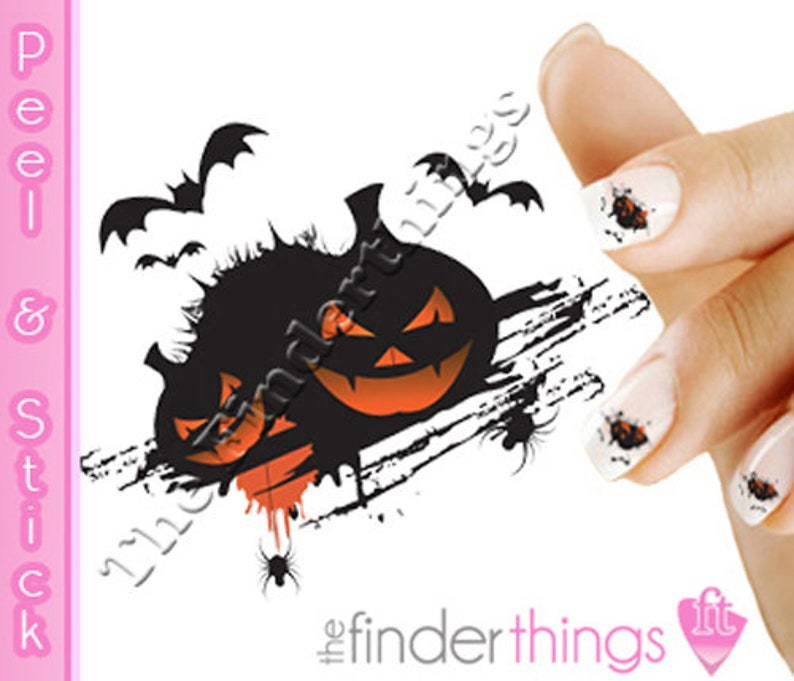 Scary Pumpkins Nail Decals/Stickers (Peel and Stick) HAL107