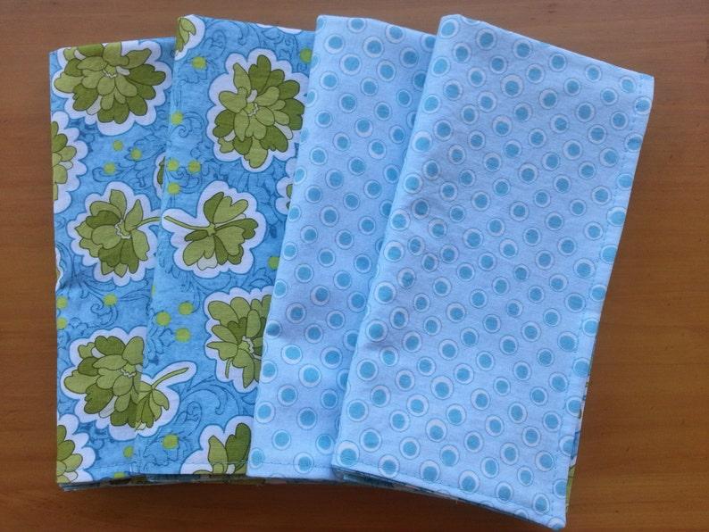 Bohemian Festival Reversible Luncheon Napkins Boho Blue Cloth Napkins Riley Blake Fabric 100/% Cotton Floral Dinner Napkins