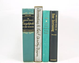 Teal Green Antique Decorative Books, Home decorating Old Book Set, Female Book Gift, Entertaining Book Decor, Book Collection,  Centerpiece