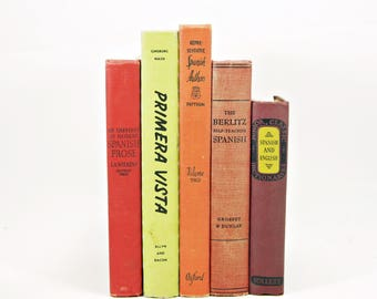 SPANISH Schoolbooks, Antique Old Decorative Books, Antique Book Collection, Dorm room Decor, Book Decor, Instant Library, ORange Red BOoks