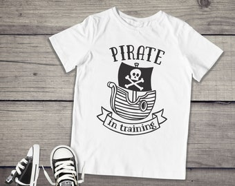 78709e81a Pirate in Training Shirt - Cute Toddler Shirt - Boys T-Shirt - Short Sleeve  or Long Sleeve - Boys Pirate Shirt - Pirate Birthday Party