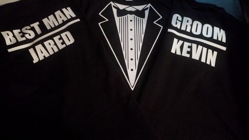 fd0ad24a Custom Wedding Tuxedo T-Shirts Groomsmen Shirts Best Man | Etsy