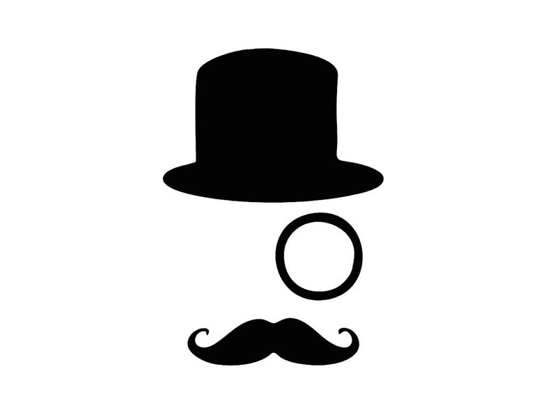 4293a6fe06602 Decal Tophat Monocle Mustache Custom Vinyl Decal Sticker