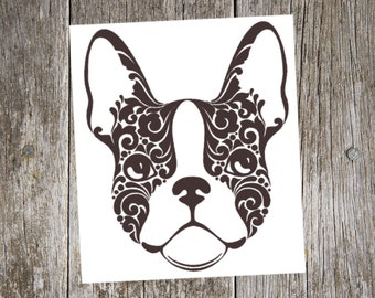 Boston Terrier v3 - Tribal Dog Breed Custom Die Cut Vinyl Decal Sticker - Choose your Color and Size