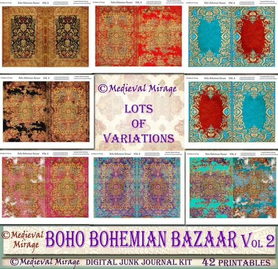 BOHO Boho Bazar Vol 2 Digital Journal Junk Mega Kit. 42 42 Kit. Fiches imprimables. Byzantine, marocain, tapis persans essence ethnique inspiré. Tapisserie 181177