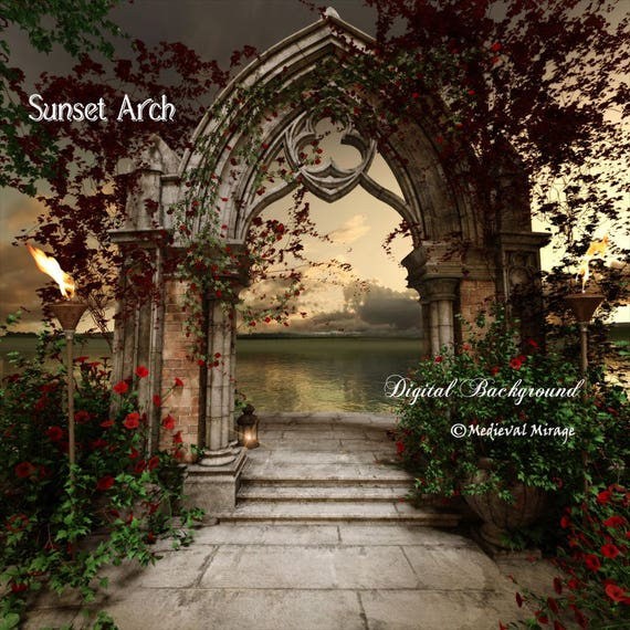 Sunset Arch Romantic Digital Background Wedding Bridal Backdrop For Photographers Lantern Sea Gothic Arches Ivy