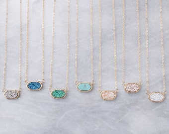 1eea6179176a77 Druzy Oval Stone Gold Chain Necklace   Pendant Necklace   Gift for her    Jewelry Gift   Bridesmaids Gift   Graduation Gift