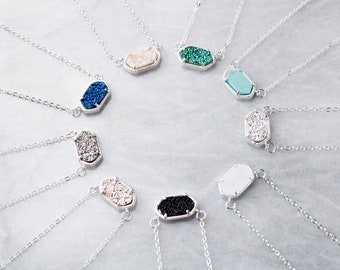 81e7a7811 Druzy Oval Stone Silver Chain Necklace | Pendant Necklace | Gift for her |  Jewelry Gift | Bridesmaids Gift | Graduation Gift