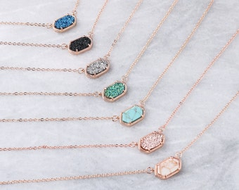 bf68e7713ea070 Druzy Oval Stone Rose Gold Chain Necklace | Pendant Necklace | Gift for her  | Jewelry Gift | Bridesmaids Gift | Graduation Gift