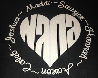 Nana or Mimi shirt with grandkids' names