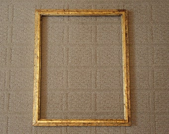 """Antique Style Faux Gold-Leaf Wood Picture Frame~11x14~3/4""""~Handcrafted~Shabby~Nice Patina Look~NEW"""