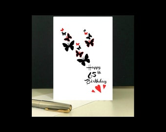 Butterfly 65th Birthday Card To Download And Print At Home Downloadable Printable Digital 65 Year Old Age Greeting