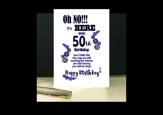 It is an image of Printable 50th Birthday Cards inside funny 50th
