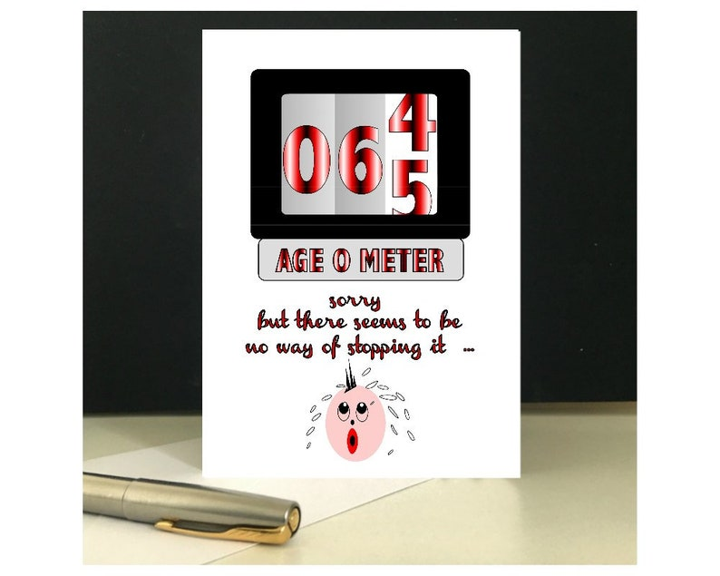 Downloadable Age 0Meter 65th Birthday Greeting Card