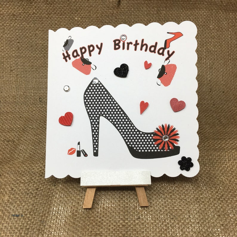 f4f989d408f Birthday Card for Lady Greeting Cards Handmade, Shoes Birthday Card, card  for girlfriend, friend, pretty birthday card, happy birthday, blan