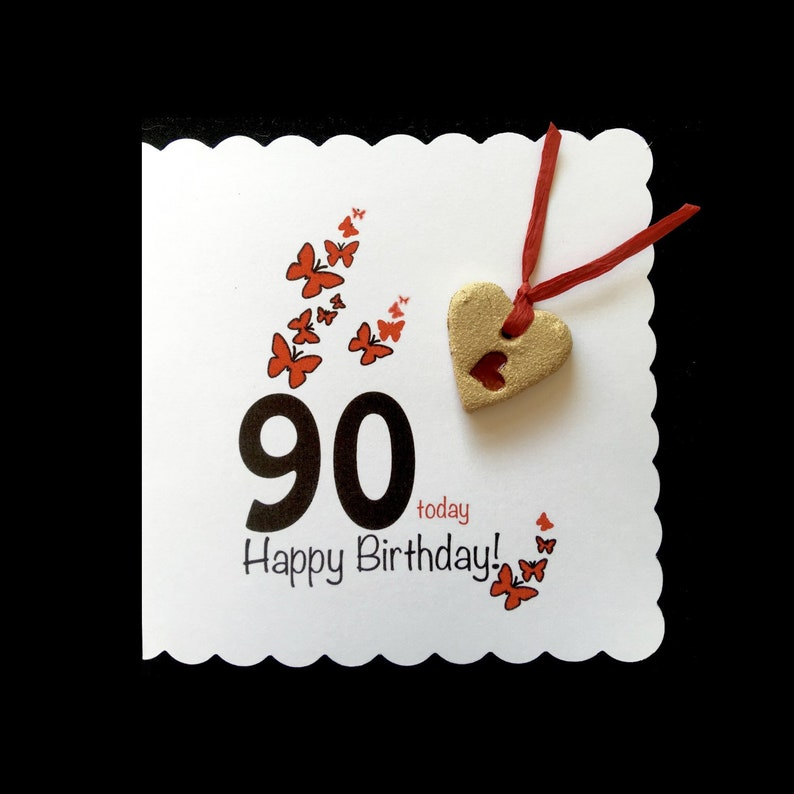 90th Birthday Card With Ceramic Heart Keepsake For Man Or