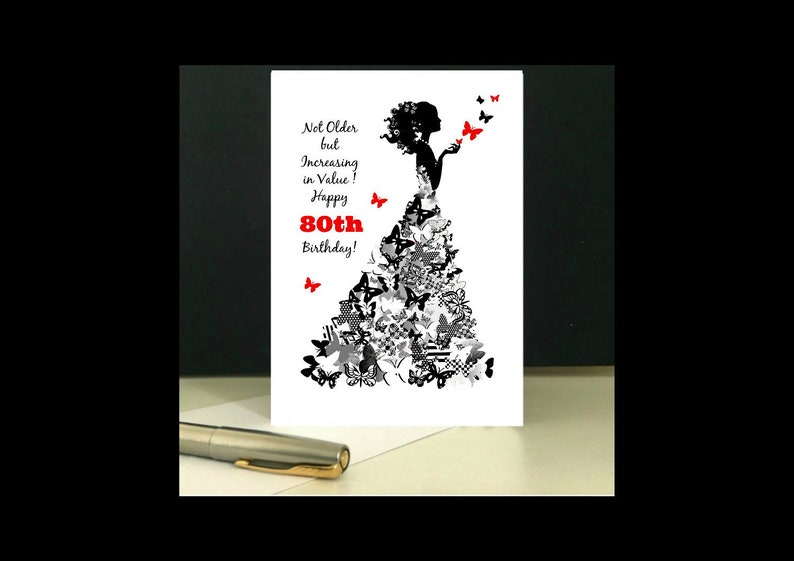 Instant Download 80th Birthday Card Butterfly Lady To