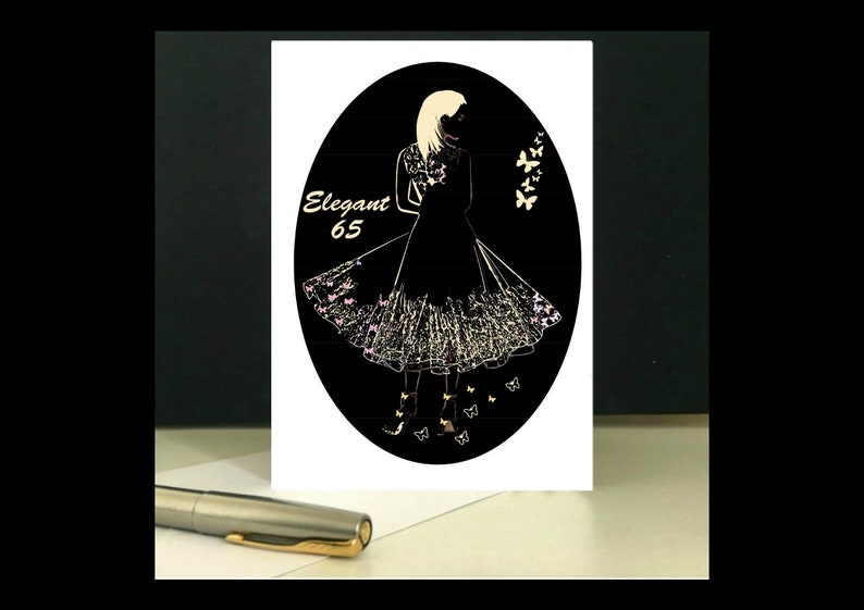 ELEGANT Lady 65th Birthday Card To Download And Print At Home
