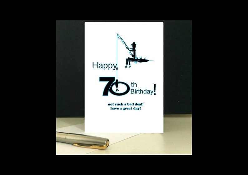Instant Download 70th Birthday Card Fishing Greetings To