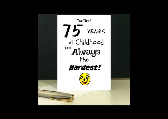 Downloadable 75th Birthday Greeting Card Digital