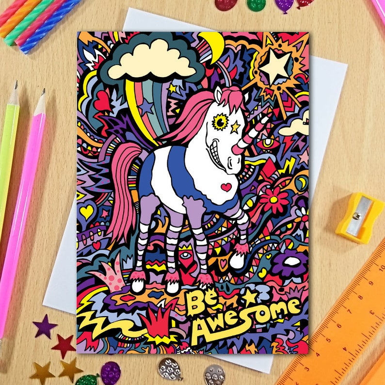 Birthday Card Unicorn Funny Girlfriend For Her Greeting Teen Girl Wife Girls