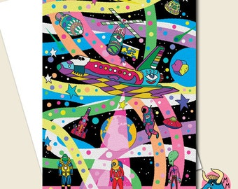 Space Card, Space Birthday Card, Space Shuttle Card, Boys Card, Card For Him, Geek Card, Teen Card, Boyfriend Card, Dad Card, Husband Card