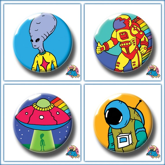 25mm Pin Button Badge Astronaut Science Fiction Sci Fi Aliens Spaceman 1 Inch