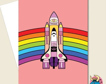 Pink Space Shuttle Card, Birthday Card, Greeting Card, Shuttle Card, NASA Card, Space Card, Sci-Fi Card, Rainbow Card, Pink Card.
