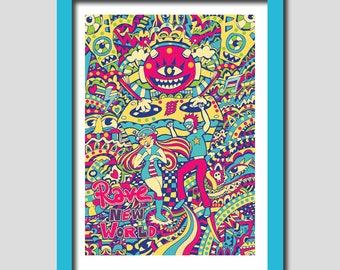 Rave New World / A4 Art Print / 8x11. Rave Art. Rave Print. Techno Art. Wall Art. Home Decor. Art. Digital Print. Art Prints. Music Art.