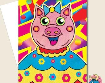 Pig Card, Birthday Card, Greeting Card, Funny Card, Cute Card, Card For Him, Card For Her, Blank Card, Girlfriend Card, Girls Card,Wife Card