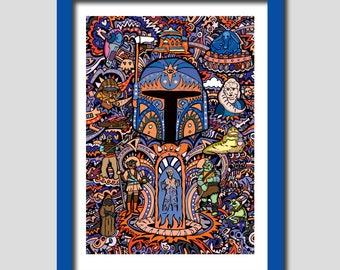 Star Wars Art Print, Boba Fett Art Print, A4 Art Print, Wall Art, Boyfriend Gift, Husband Gift, Gift For Him, Gift For Men, Boys Gift, Art